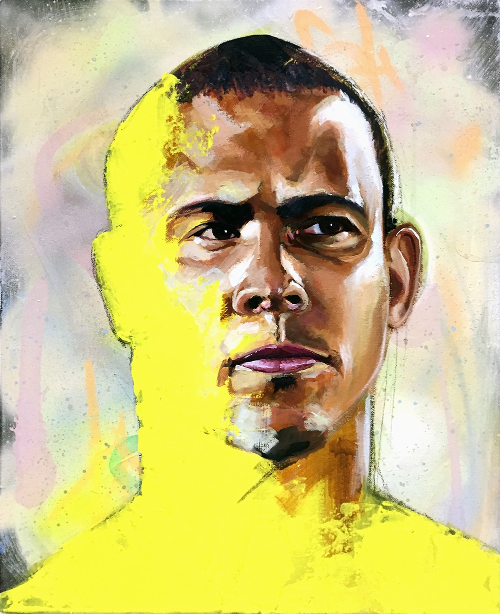 Ronaldo, Brazil, Barcelona, Real Madrid, Inter Milan, World Cup, Legend, Football, Soccer, Yellow, Futebol, Painting, Portrait, Canvas